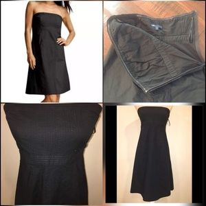 GAP, Strapless Pin Tuck Ribbed Dress, Black